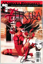 Elektra #1 Signed Greg Horn Remarked Sketch Jay Company COA Ltd 25 Marvel comic book